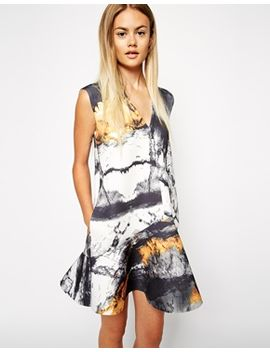 asos-bonded-peplum-hem-shift-dress-in-forest-print by asos-collection