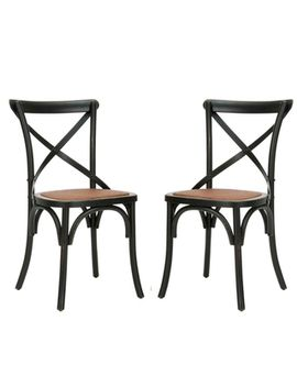 safavieh-country-farmhouse-dining-bradford-x-back-antiqued-black-dining-chairs-(set-of-2) by safavieh