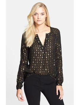 metallic-silk-blend-blouse by diane-von-furstenberg