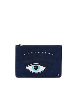 luxe-suede-evil-eye-pouch by cwonder