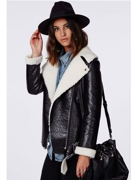 coco-faux-leather-shearling-jacket-black by missguided
