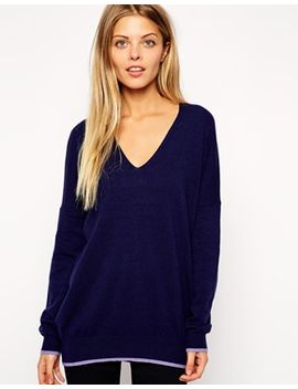 asos-slouch-v-neck-sweater-with-tipping-in-cashmere-blend by asos-collection