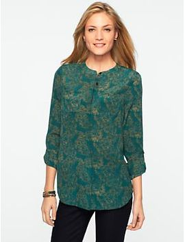 washable-silk-sketched-peacocks-band-collar-shirt by talbots