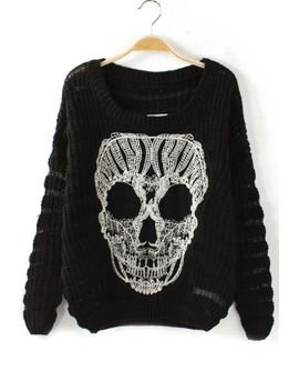 skull-cutout-sweater by oasap