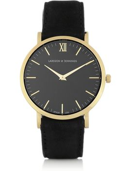 läder-suede-and-gold-plated-watch by larsson-&-jennings