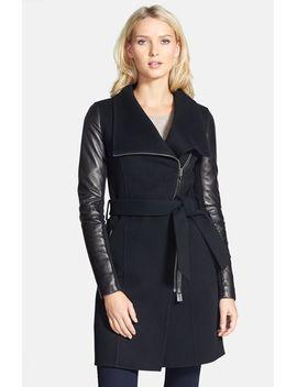 hemy-leather-sleeve-asymmetrical-long-coat by mackage
