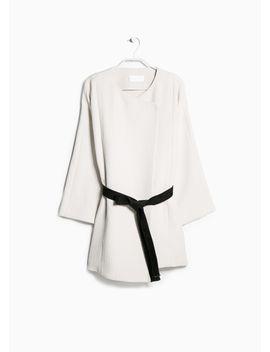 premium---contrast-belt-kimono by mango