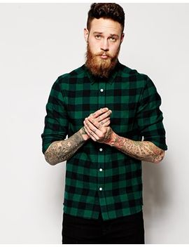 asos-shirt-in-long-sleeve-with-brushed-buffalo-plaid by asos