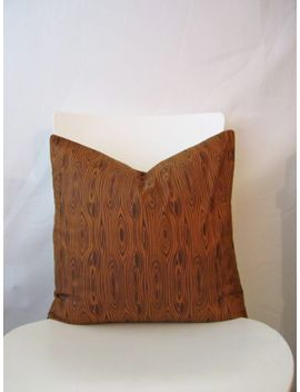 18-inch-throw-pillow-cover,-faux-bois-wood-grain-print-brown-nature-woodsy,-modern-print-for-indoor-use by cushioncutdecor