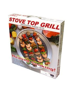 kitchen-+-home-stove-top-smokeless-grill-indoor-bbq,-stainless-steel-with-double-coated-non-stick-surface by kitchen-+-home