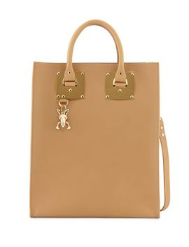 buckled-leather-tote-bag,-camel by sophie-hulme