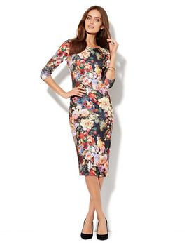 floral-print-scuba-sheath-dress by new-york-&-company