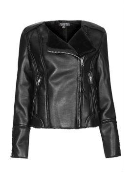 bonded-collerless-biker-jacket by topshop