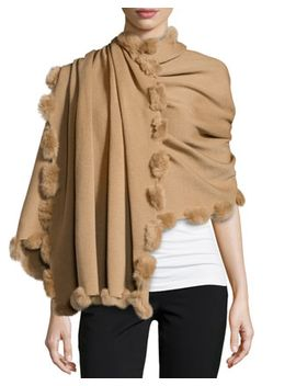 fur-pom-trim-wrap,-dark-camel by neiman-marcus