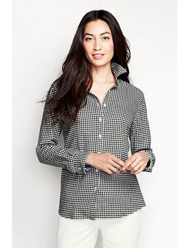 womens-petite-long-sleeve-chambray-trim-flannel-shirt by lands-end