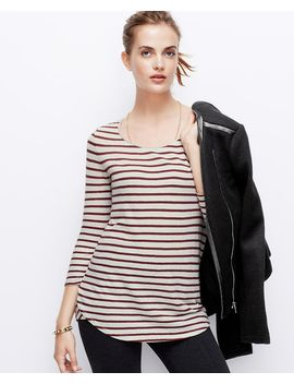 striped-cotton-3_4-sleeve-tee by ann-taylor