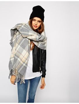 asos-oversized-scarf-in-grey-check-with-tassels by asos-collection
