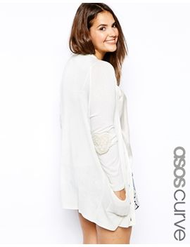asos-curve-exclusive-v-neck-cardigan-with-lace-elbow-patch by asos-curve