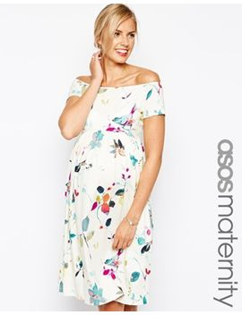 asos-maternity-midi-skater-dress-in-bird-print by asos-maternity