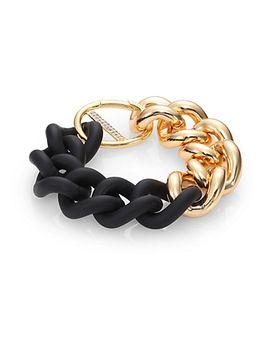 bauhaus-pavé-white-topaz-&-rubber-chain-bracelet by elizabeth-and-james