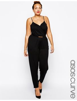 asos-curve-cami-wrap-jumpsuit-with-belt by asos-curve