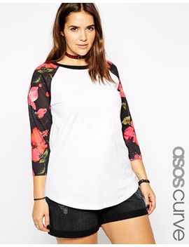 asos-curve-exclusive-raglan-top-with-floral-sleeve by asos-curve