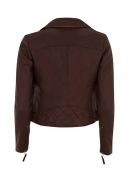 petite-wine-leather-look-quilted-biker-jacket by dorothy-perkins