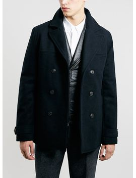 navy-wool-slim-fit-pea-coat by topman