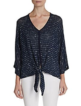 tie-front-dolman-top by saks-fifth-avenue-blue