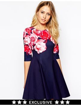 ginger-fizz-bold-bouquet-dress-in-scuba-with-rose-placement-print by ginger-fizz
