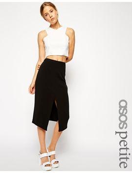 asos-petite-mid-length-split-front-skirt by asos-petite