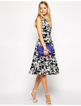 asos-midi-skater-dress-in-textured-mono-check-print by asos-collection