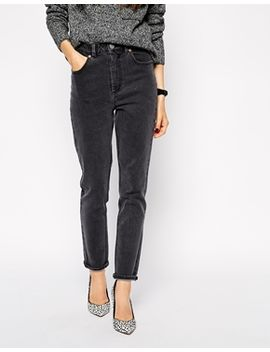 asos-farleigh-high-waist-slim-mom-jeans-in-furnace-gray by asos-collection
