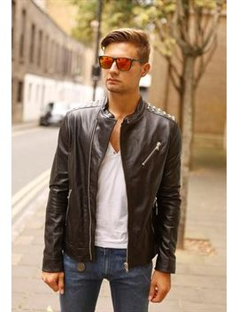 italian-real-leather-jacket-slimfit-with-spikes by no-brand-name