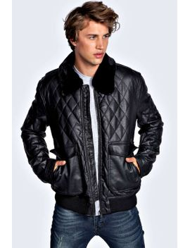 pu-bomber-with-sherpa-collar by boohoo