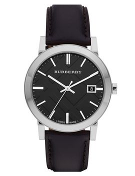 check-stamped-round-dial-watch,-38mm by burberry