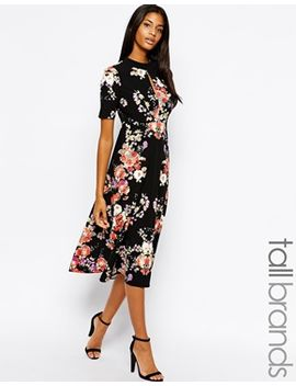 glamorous-tall-high-neck-floral-print-midi-skater-dress by glamorous-tall