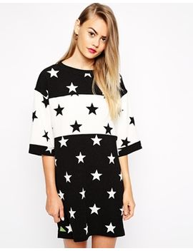 pippa-lynn-star-print-woven-t-shirt-dress-with-contrast-panel by pippa-lynn