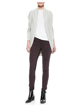 elliptical-circle-cardigan,-basic-tee-&-side-stripe-skinny-jeans by vince