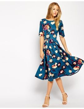 closet-scuba-midi-dress-in-floral-print by closet