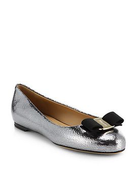 varina-crackled-metallic-leather-bow-ballet-flats by salvatore-ferragamo