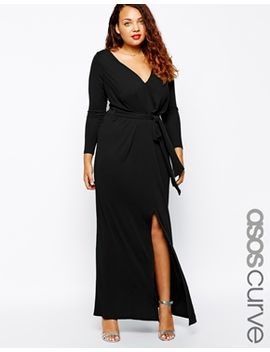 asos-curve-maxi-dress-with-tie-front by asos-curve
