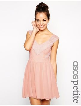 asos-petite-exclusive-eyelash-lace-skater-dress-with-v-back by asos-petite