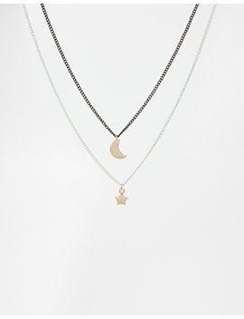 asos-multirow-moon-&-star-choker-necklace by asos-collection