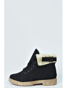 poppy-shearing-trim-lace-up-ankle-boot by boohoo