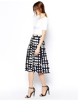 asos-midi-skirt-in-check-print by asos-collection