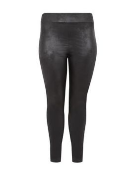 inspire-black-high-waisted-leather-look-leggings by new-look