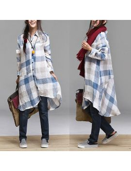 washed-linen-plaid-long-sleeved-shirt-_-lapel-irregular-long-shirt by dreamyil
