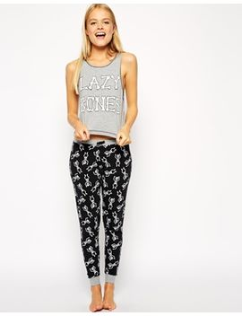 asos-lazy-bones-vest-and-legging-pjyjama-set by asos-collection