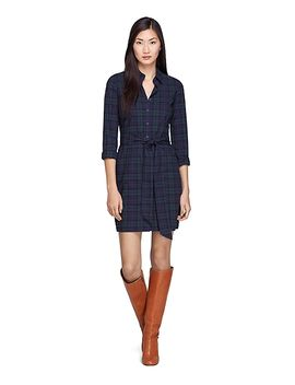 long-sleeve-cotton-black-watch-dress by brooks-brothers